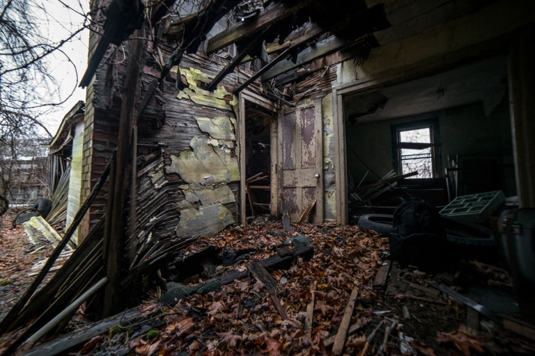 Abandoned Home Filled with Leaves